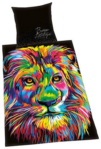 Herding BUREAU ARTISTIQUE Parure de Lit Lion, Réversible, Housse de Couette 135 x 200 cm, Taie d'Oreiller 80 x 80 cm, Coton/Satin