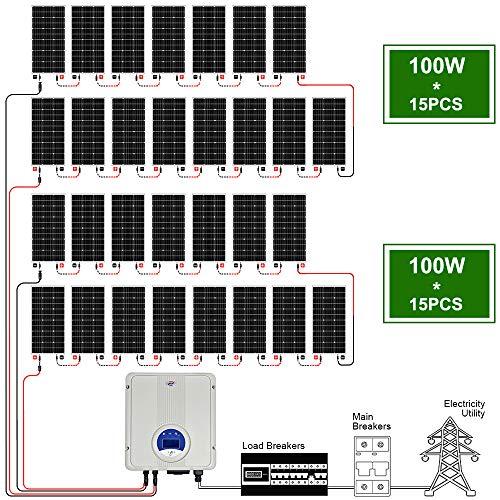 ECOWORTHY Kit de panel solar de conexión a red de 3000 W con paneles solares de 30 piezas de 100 W y inversor de 5000 W, soportes de montaje y cables de extensión para Garden House Factory Commercial