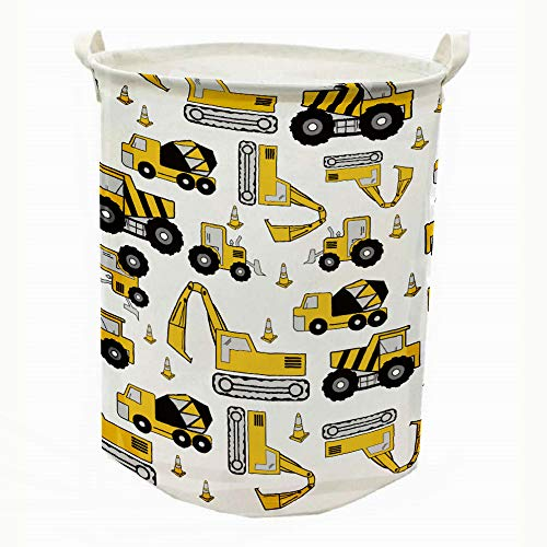 Runtoo 19.7 Large Sized Laundry Hamper Waterproof Foldable Canvas Construction Transports Theme Bucket Clothing Laundry Basket with Handles for Storage Bins Kids Room Home Organizer Nursery Storage