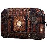 Bolsa de cosméticos Steampunk con ilustración adorable, espaciosa, bolsa de maquillaje, bolsa de aseo de viaje, organizador de accesorios Color09 7'x3'x5'