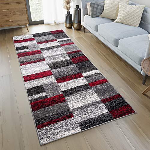 Teppich/Läufer für Flur, modern, Kollektion Twist,Farbe Anthrazit / Grau / Rot, Motiv quadratisch, beste Qualität,Größen S - XXXL 100 x 300 cm beige