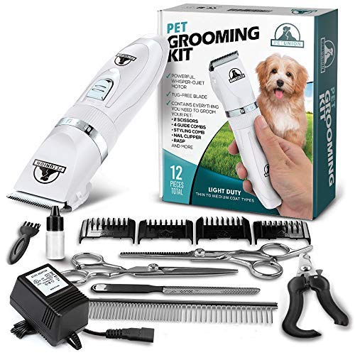 Pet Union Professional Dog Grooming Kit - Rechargeable, Cordless Pet Grooming Clippers & Complete Set of Dog Grooming Tools. Low Noise & Suitable for Dogs, Cats and Other Pets (White)