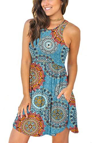 Unbranded Women Summer Casual T Shirt Dresses Beach Cover up Plain Tank Dress Floral Mix Blue Large