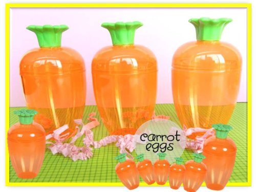 Clear Orange Carrot Shaped Easter Eggs 3 Fillable Treat Containers