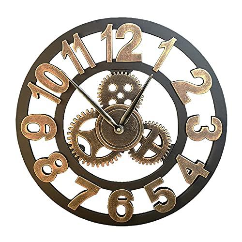 LH-Wall Rack Reloj de Pared de Metal Retro, silencioso, sin tictac, a Pilas, Relojes de Pared Vintage con números arábigos Dorados, fácil de Leer, 16 Pulgadas