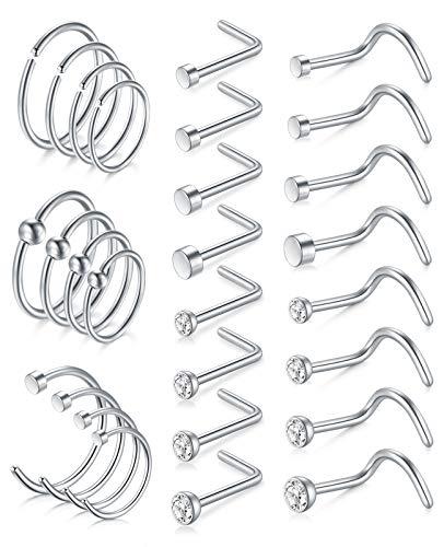 AceFun 18G Piercing Nariz Anillo de Nariz Acero quirúrgico espárrago de Nariz en Forma de L y Espiral Plata Piercing Tragus cartílago hélice Orejas tabique Anillo de Nariz para Mujer Hombre