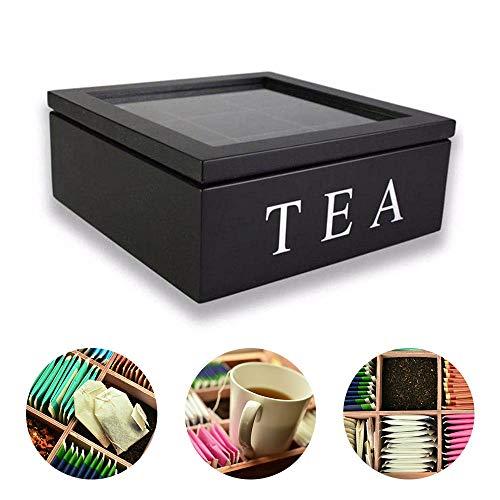 ShangSky Caja de té de madera, cajas de organizador de bolsas de té con 9 compartimentos más profundos Regalo elegante para té Flores secas de café protegen el almacenamiento