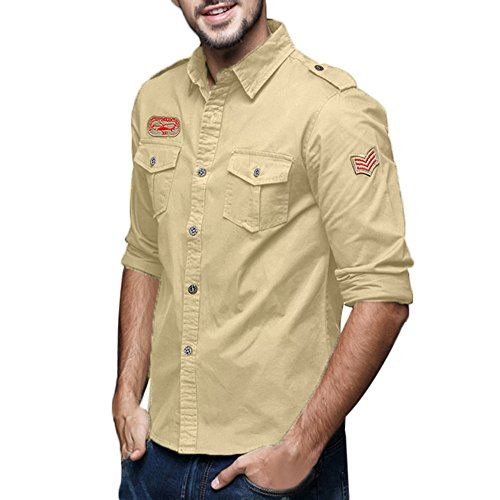 STORTO - Mens Military Style Cotton Shirt Cargo Tactical Long Sleeve Business Tops Khaki