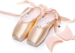 Women's Toe Shoes Flat Shoes Yoga Shoes with Pre-Stitched Ribbon Toe Protection Pads, One-Piece, Moderate Soft And Hard, Not Slippery (Please Choose The Size Larger),Satin,39