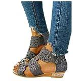 Sandals for Women 2021, New 2021 Women's Platform Sandals T-Strap Block Heel Sandals Heeled Ankle Wedge Ankle Strap Open Toe Sandals Black
