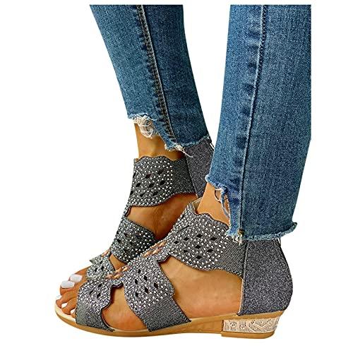 Winging zapatos bohemios retros de las sandalias del rhinestone con cremallera del talón de cuña Las señoras de la moda de las mujeres de cristal al aire libre ahuecan hacia fuera sandalias