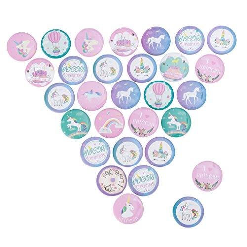30 Piezas Unicornio Colorido Insignia de Botones Pin Broche de Unicornio para Infantiles niños Unicornio Fiestas de cumpleaños Regalos