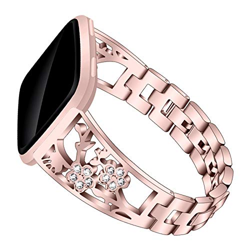 XIALEY Correa De Joyería Compatible con Fitbit Versa/Versa 2 / Versa Lite, Banda De Repuesto De Metal Mujer Niñas Rhinestone Acero Inoxidable Pulsera De Accesorios Compatible con Versa,Rose Pink
