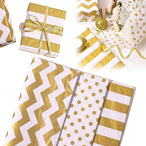 Geschenkpapier Geburtstag, Geschenkpapier Gold in 3 verschiedenen Mustern, zum Geburtstag, Erntedankfest, Valentinstag (30 cm x 35 cm, 60 Blatt)