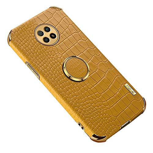 Redmi Note 9T ケース/カバー メッキ レザー調 クロコダイルレザー調 TPU ソフトケース シャオミ リドミーノート9T 頑丈ケース/カバー ケース スタンド機能 分離型スマホリング付き おしゃれ ストスマートフォン/スマフォ/スマホケース(