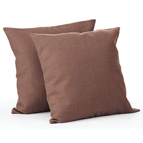 mDesign Set da 2 federe cuscini decorative – Eleganti copricuscini per divano o letto – Fodere cuscini in poliestere, cuscino non incluso nella confezione – marrone