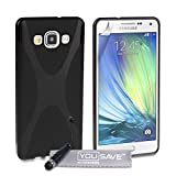 Yousave Accessories Silicone X-Line Cover Case with Mini Stylus Pen for Samsung Galaxy A5 - Black