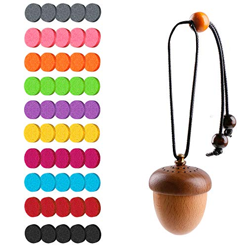 Essentil Oil Wooden Acorn Car Diffuser + 22mm Flet Pads