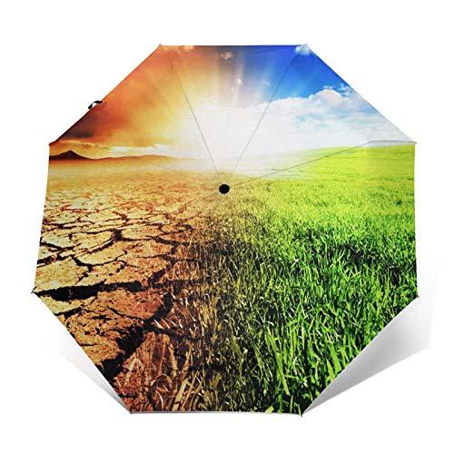 Paraguas Plegable Automático Impermeable Esperanza del Calentamiento Global del Medio Ambiente, Paraguas...