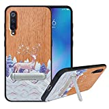 HHDY Compatible with Xiaomi Mi 9 Case with Metal Kickstand, Hard Natural Wood Back with Flexible TPU Bumper, Wooden Phone Case for Xiaomi Mi 9, Deer
