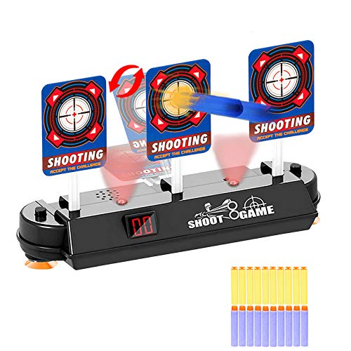 HONGKIT Outdoor Toys for Kids 5-8,Auto Reset Shooting Digital Target Foam Bullet Refill Darts Soft Bullet for nerf Guns Birthday Present for Age 3-10 Boys Best Gifts for 9 Year Old Boys