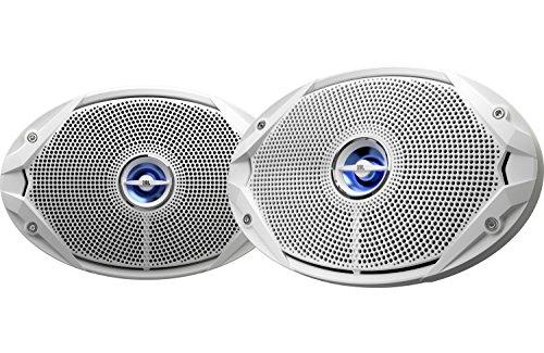 "JBL Gauge Style Marine Digital Media Bluetooth Receiver, JBL 4-Channel Full-Range Marine Amplifier, 2X JBL 6x9 2-Way White Coaxial Speakers + 2X JBL 6.5"" Speakers + Enrock 50 Foot 16g Speaker Wire"