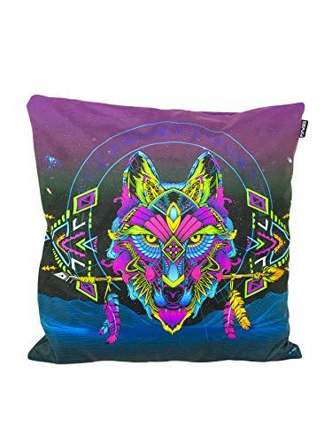 PSYWORK Neon Sentymo Wolf - Cojín (60 x 60 cm), Color Negro