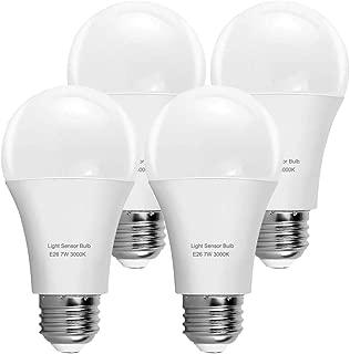 KINDEEP Motion Sensor Light Bulb, A60 7W LED Smart Bulb Dusk to Dawn, E26 Base, 3000K, Soft White, Auto On/Off, 4 Packs