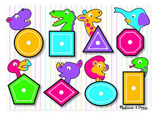 Melissa & Doug- Shapes Peg Juego Puzzle con 8 Piezas, Mu