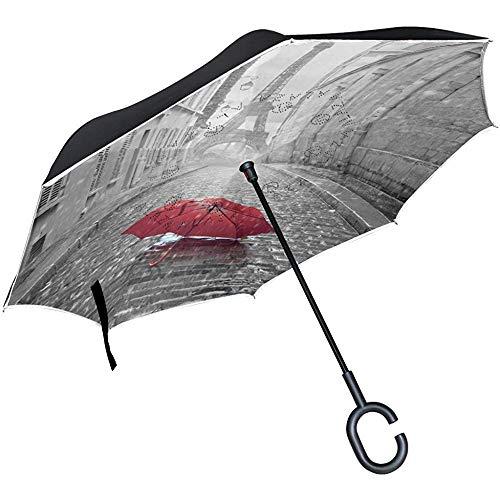Rote Regenschirm-Straße des Paris-Eiffelturms umgekehrter Regenschirm, großer Regen Sun Car Reversible Umbrella der doppelten Schicht im Freien