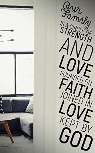 Notre Famille est un cercle de force et d'amour Fondée sur Faith jointes en Amour Conservés par Dieu ? Citation Famille l'Autocollant Stickers muraux, Stickers Stickers en vinyle DIY Art Décoration chambre à coucher
