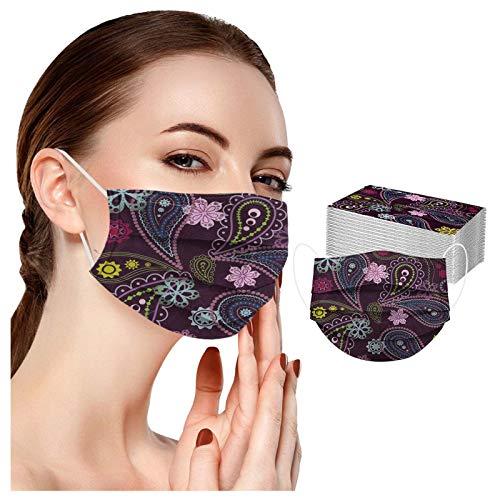 10/20/30/50/100pc Protector Adulto Flor Linda Azulado impresión Digital 3Ply oído Bucle Medio Bufanda para Mujeres Hombres
