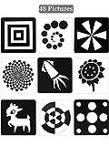 Cartes Flash Noires Blanches pour Tout-Petits, 48 Pièces 5,5 x 5,5 Pouces Cartes de Contraste Conçues pour Jouets de Bébé Nouveau-Né avec Contraste Élevé (0 - 6 Mois)