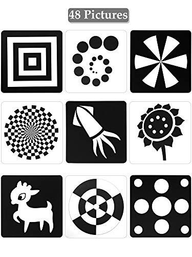 Tarjetas Negras y Blancas para Bebés, 48 Imagenes 5,5 x 5,5 Pulgadas Tarjetas de Contraste Diseñado para Juguete de Bebés Recién Nacidos con Alto Contraste (0 - 6 Meses)