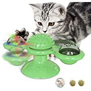 Windmill Cat Toys, Spinning Cat Toy with 2Catnip Glow Ball and 1Led Ball,Catnip Toy with Scratch Hair Brush Grooming Tool for Cat(Blue) (Green)