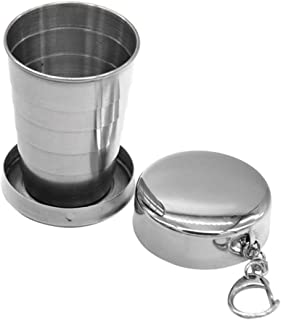 Stainless Steel Camping Mug 140ML Collapsible Cup Stainless Steel Portable Outdoor Travel Camping Folding Metal Telescopic Collapsible Cup with Keychain Outdoor Travel Pocket Mug Camping Folding Cup