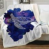 Sleepwish Turtle Mandala Pattern Sherpa Throw Blanket Purple Blue Sea Animals Fleece Bed Blanket Super Soft Reversible Ultra Luxurious Plush Blanket Throw(50'x60')