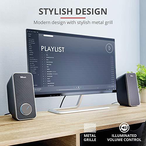 Trust Arys 2.0 USB Normal Lautsprecher Set (28 Watt, 3,5mm Klinke, USB-Stromversorgung, für PC, Laptop, Tablet und Smartphone) schwarz