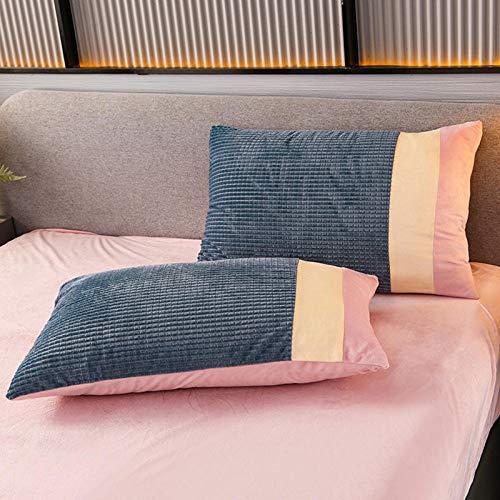 Edredón de microfibra reversible,Franela gruesa de invierno y funda de edredón de doble cara de terciopelo, juego de cuatro piezas de ropa de cama de terciopelo de cristal-UN_Colcha de 1,5 m (4 pieza