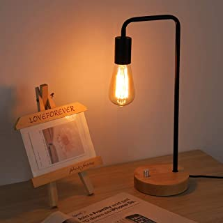 Industrial Table Lamp, Vintage Nightstand Table Lamp Bedside Table Lamp for Reading Stylish Desk Lamp for Living Room, Bedroom, Office, Rotary Switch