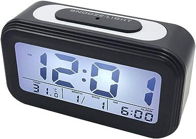 YB Alarma electrónica Digital,Relojes de Alarma Inteligentes Fecha Temperatura Visualización Snooze Función de luz