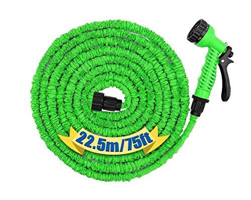 GSSUSA Switory Tubo Flessibile da Giardino Estensibile 22,5m/75 Piedi, Tubo Flessibile per Acqua Flessibile con 7 Tipi di spruzzo Tessuto Extra Forte Senza Pieghe- Verde