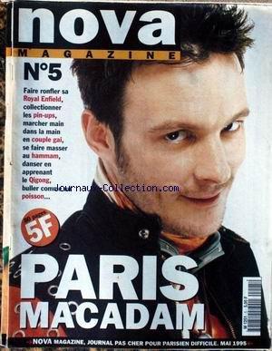 NOVA MAGAZINE [No 5] du 01/05/1995 - ROYAL ENFIELD - PIN-UPS - COUPLE GAI - HAMMAM - QIGONG - PARIS MACADAM.