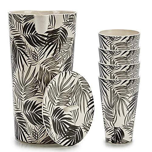 Space Home - Set de Jarra de Agua y Vasos de Bambú - Jarra con Tapa + 4 Vasos - Recipiente para Líquidos - Respetuoso con el Medio Ambiente - Biodegradable - Diseño Tropical - Bambú - Diseño 2
