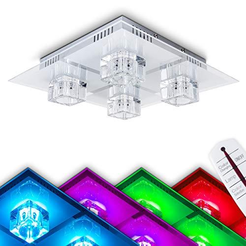 LED Deckenleuchte Harbin, Deckenlampe aus Metall/Glas in Nickel-matt, eckige Leuchte mit Glaswürfeln, 4-flammig, mit RGB Farbwechsler u. Fernbedienung