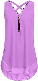 Aniywn Women Floral Printed Sleeveless Cross Back Tank Top Casual Zipper V-Neck Blouse