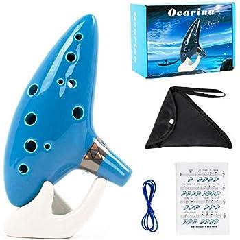 Ocarina 12 tons Alto Do avec support pour livre de chansons, cordon tour de cou vert bouteille (azure color)