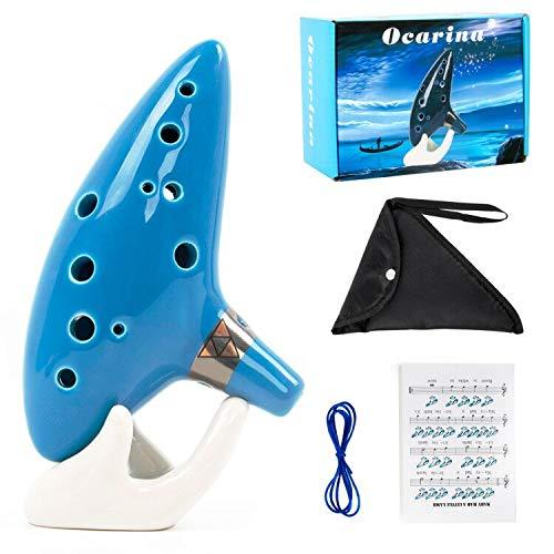 Ocarina 12 tonos Alto C con soporte para libro de canciones, cuerda para cuello, Verde (sky blue)