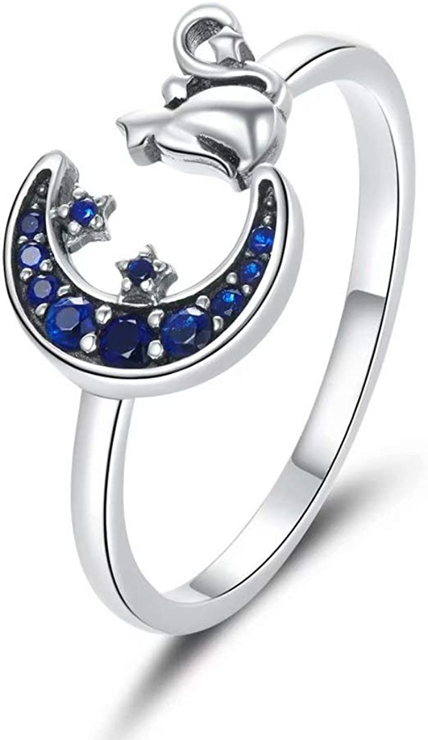 Presentski Albuquerque Mall Cat Ring Adjustable Rings Women for Sterling Silver Max 86% OFF M
