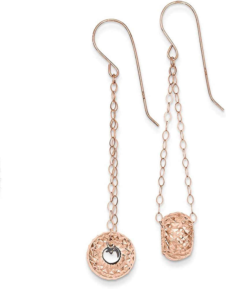 14K Rose Gold Chain with Diamond-cut Puff Donut Bead Earrings